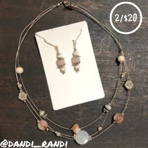 Beaded 3 Layer Wire Necklace & Dangle Earrings